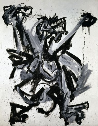 Turn Number 7 or the Cry. Giro número 7 o el grito . 1959 . Oil on canvas 250 x 200 cm. Madrid, Reina Sofia museum. Author: SAURA, ANTONIO. Location: MUSEO REINA SOFIA-PINTURA, MADRID, SPAIN. : Stock Photo