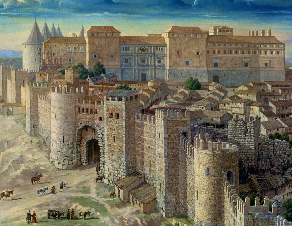 DETALLE DE MADRID EN 1561 - VISTA DEL REAL ALCAZAR DE LOS AUSTRIAS RESIDENCIA DE FELIPE II EN MADRID - 1950 - CONJUNTO Nº 91010. Author: SCHILD PIERRE. Location: PRIVATE COLLECTION, SPAIN. : Stock Photo