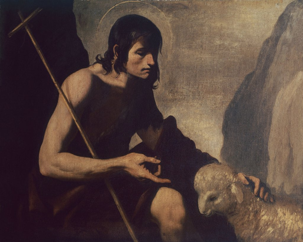 Stock Photo: 4409-15603 Spanish school. Saint John Baptist. San Juan Bautista. Cadiz, archeological and Fine Arts museum. Spain. Author: ZURBARAN, FRANCISCO DE. Location: MUSEO DE CADIZ-BELLAS ARTES, CADIZ, SPAIN.