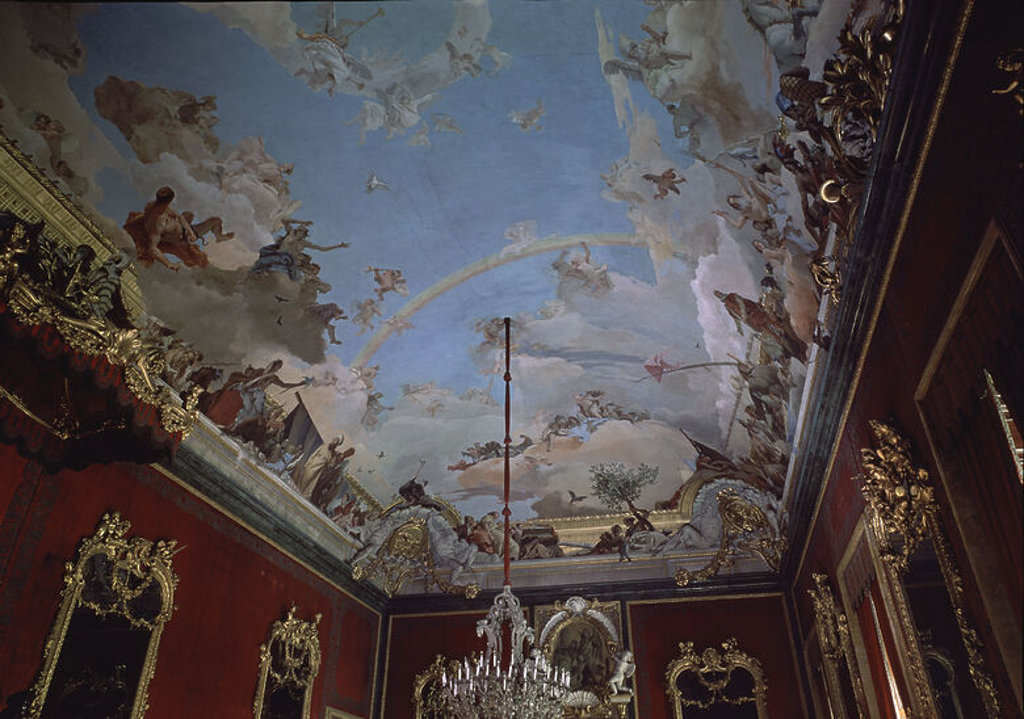 Stock Photo: 4409-15768 SALON DEL TRONO-TECHO-FRESCOS MITAD DERECHA:APOTEOSIS A LA MONARQUIA-PINTURA ROCOCO. Author: TIEPOLO, GIOVANNI BATTISTA. Location: PALACIO REAL-INTERIOR, MADRID, SPAIN.