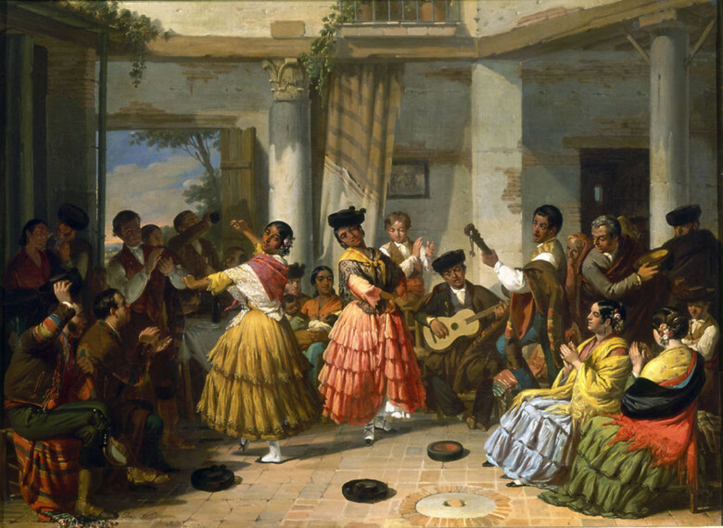 Stock Photo: 4409-15812 BAILE ANDALUZ- 1834-PINTURA ROMANTICA ESPAÑOLA-S XIX-ESCUELA SEVILLANA. Author: BECQUER VALERIANO. Location: PALACIO REAL-PINTURAS, ARANJUEZ, MADRID, SPAIN.