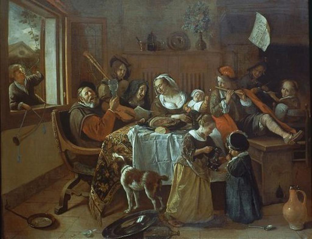 LA FAMILIA MERRY - SIGLO XVII. Author: STEEN, JAN. Location: RIJKSMUSEUM, AMSTERDAM, HOLANDA. : Stock Photo