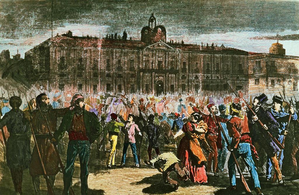 Stock Photo: 4409-16039 MADRID-MOTIN EN LA PUERTA DEL SOL 1869- LITOGRAFIA S XIX. Author: ALBA E. Location: MUSEO DE HISTORIA-GRABADOS COLOREADOS, SPAIN.