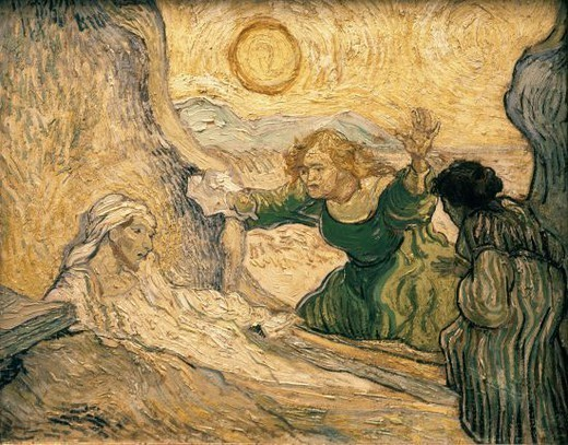 Dutch school. The Raising of Lazarus, after Rembrandt. May 1890. Oil on paper (50 x 65 cm). Amsterdam, Van Gogh Museum. Location: MUSEO VAN GOGH, AMSTERDAM, HOLANDA. : Stock Photo