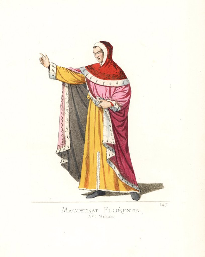 "Stock Photo: 4409-162265 Costume of a government magistrate in Florence, 15th century. He wears a scarlet hood, pink cape and yellow tunic, all lined in ermine. From a miniature in a manuscript of Dante in the Vatican. Handcoloured illustration drawn and lithographed by Paul Mercuri with text by Camille Bonnard from ""Historical Costumes from the 12th to 15th Centuries,"" Levy Fils, Paris, 1861."