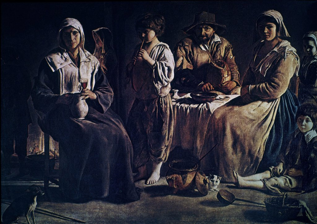 Peasant Family in an Interior - 1640 - 113x159 cm - oil on canvas - French Baroque. Author: LE NAIN, LOUIS. Location: LOUVRE MUSEUM-PAINTINGS, PARIS, FRANCE. Also known as: FAMILIA CAMPESINA. : Stock Photo