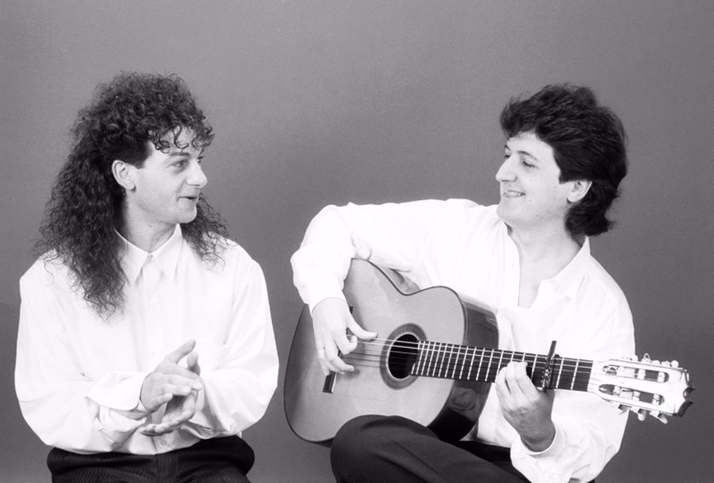 Stock Photo: 4409-1629 The spanish flamenco singer Juan Cortés, known as Duquende, with the spanish flamenco guitarist Juan Manuel Cañizares in 1993.