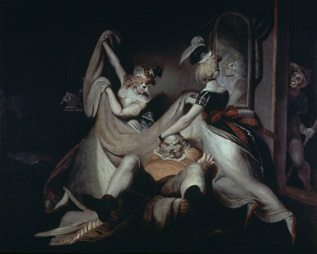 Stock Photo: 4409-16332 FALSTAFF - ESCENA DE LAS ALEGRES COMADRES DE WINDSOR -  1792. Author: FUSELI HENRY O FÜSSLI JOHANN.
