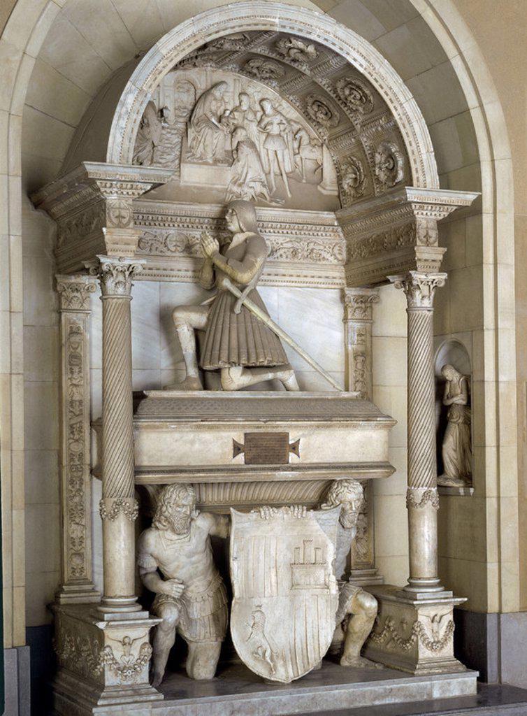 SEPULCRO DE JUAN DE ARAGON DUQUE DE LUNA Y CONDE DE RIBAGORZA 1457/1528-  SIGLO XVI. Location: MONASTERIO DE MONTSERRAT, MONTSERRAT, BARCELONA, SPAIN. : Stock Photo