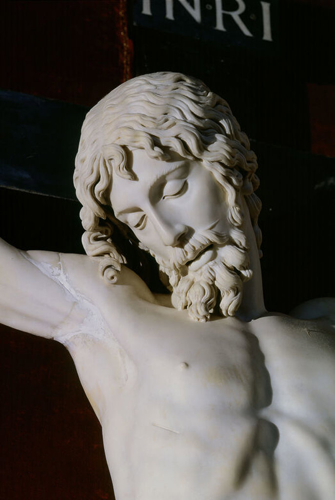 Italian school. Christ on the Cross. 1562. White marble. Madrid, Monastery of the Escorial. Author: CELLINI, BENVENUTO. Location: MONASTERIO-ESCULTURA, SAN LORENZO DEL ESCORIAL, MADRID, SPAIN. : Stock Photo