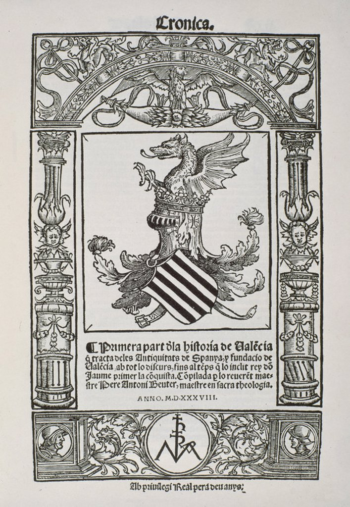 Stock Photo: 4409-16533 PORTADA DE LA PRIMERA PARTE DE LA HISTORIA DE VALENCIA - 1538. Author: BEUTER PEDRO ANTONIO. Location: BIBLIOTECA NACIONAL-COLECCION, MADRID, SPAIN.