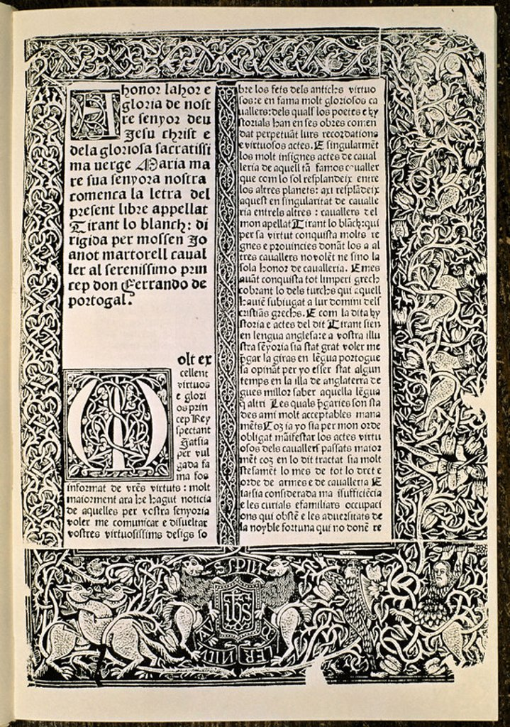Stock Photo: 4409-16534 'Tirant Lo Blanc', facsimile of a dedicatory page - 1490 - vellum. Author: MARTORELL JOANOT. Location: BIBLIOTECA NACIONAL-COLECCION, MADRID, SPAIN. Also known as: TIRANT LO BLANCH-PAG ED PRINCIPE.