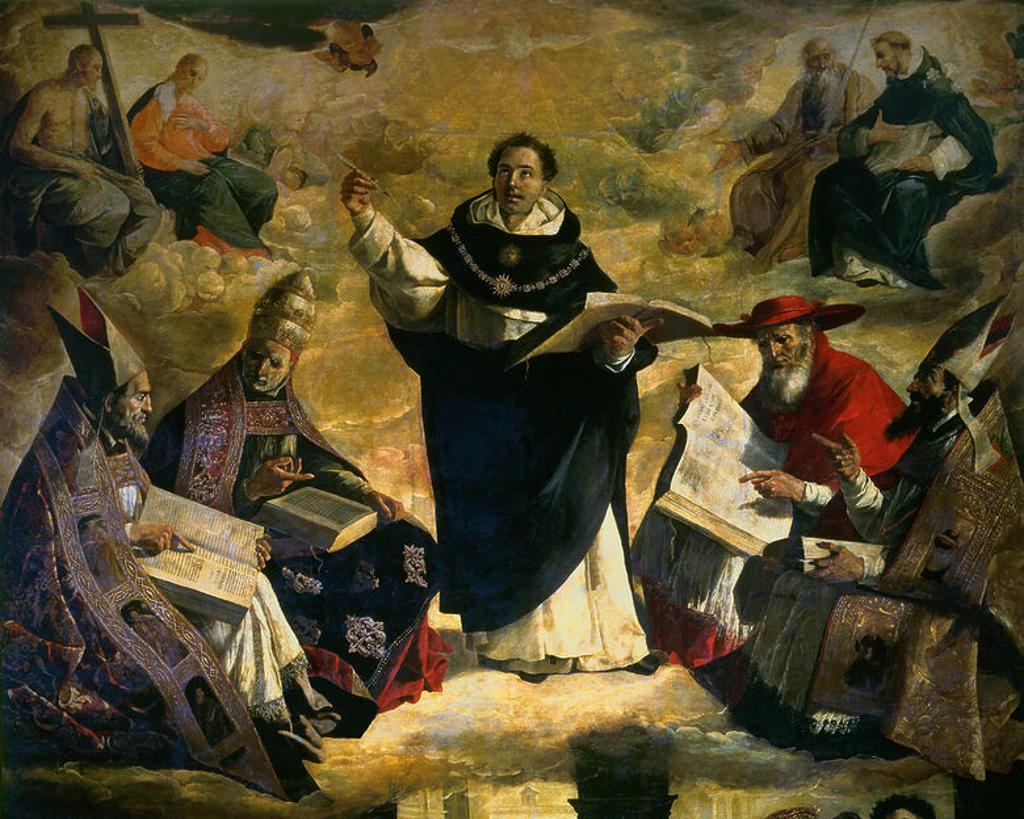 Spanish school. Apotheosis of Saint Thomas of Aquin (deail). Apoteosis de Santo Tomas de Aquino. 1631. Oil on canvas (480x379). Sevilla, Fine Arts museum. Author: ZURBARAN, FRANCISCO DE. Location: MUSEO DE BELLAS ARTES-CONVENTO DE LA MERCED CALZAD, SEVILLE, SPAIN. : Stock Photo