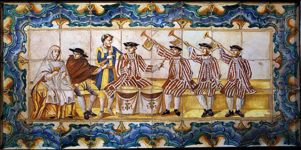Stock Photo: 4409-16615 PANEL DE LOS TIMBALEROS DE SALA - SIGLO XVIII - PANEL CERAMICO DE MANISES. Location: MUSEO DE CERAMICA GONZALEZ MARTI, SPAIN.