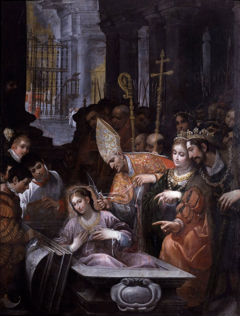 RESURRECCION DE SANTA LEOCADIA - (303 -?)- REUNION DE RECESVINTO Y SAN ILFEDONSO - SIGLO XVII - PINTURA SEVILLANA. Author: ROELAS JUAN DE. Location: HOSPITAL DEL NIÑO JESUS-DECANATO, MADRID, SPAIN. : Stock Photo