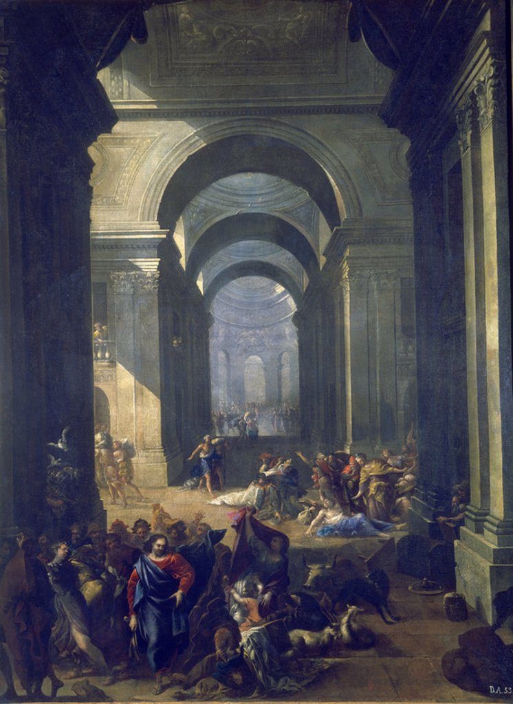 Stock Photo: 4409-16819 EXPULSION DE LOS MERCADERES DEL TEMPLO - 1670 - OLEO/LIENZO - 135 x 101 cm - NP 2661 - BARROCO ESPAÑOL. Author: GOMEZ VICENTE SALVADOR. Location: MUSEO DEL PRADO-PINTURA, MADRID, SPAIN.