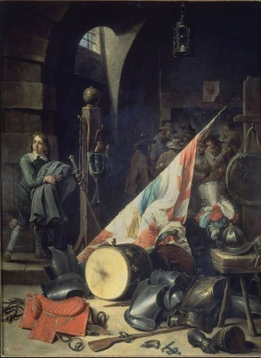Stock Photo: 4409-16827 UN CUERPO DE GUARDIA -  SIGLO XVII - COBRE - 67x52 cm - BARROCO FLAMENCO - NP 1812. Author: TENIERS THE YOUNGER, DAVID. Location: MUSEO DEL PRADO-PINTURA, MADRID, SPAIN.