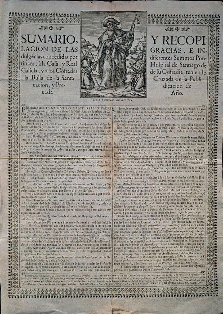 Stock Photo: 4409-16873 SUMARIO Y RECOPILACION DE GRACIAS E INDULGENCIAS CONCEDIDAS AL HOSPITAL DE SANTIAGO DE GALICIA Y A LOS COFRADES DE SANTIAGO. Location: MUSÉE DES BEAUX-ARTS, PONTEVEDRA, SPAIN.