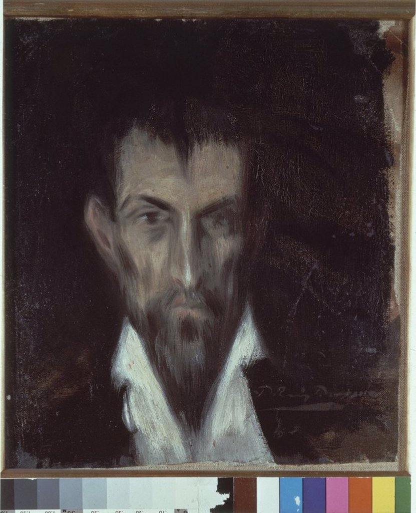 Stock Photo: 4409-16903 Spanish school. Man's head in Le Greco's style. Retrato desconocido estilo El Greco. 1899. Oil on canvas (34.7 x 31.2 cm). Barcelona, Picasso Museum. Author: PICASSO, PABLO. Location: PICASSO MUSEUM, BARCELONA, SPAIN.