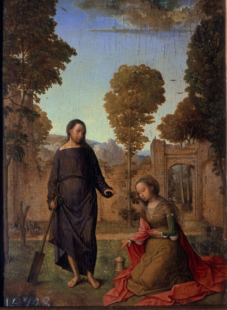 POLIPTICO ISABEL CATOLICA-NOLI ME TANGERE-JESUS  RESUCITADO Y MARIA MAGDALENA. Author: FLANDES, JUAN DE. Location: PALACIO REAL-PINTURA, MADRID, SPAIN. : Stock Photo