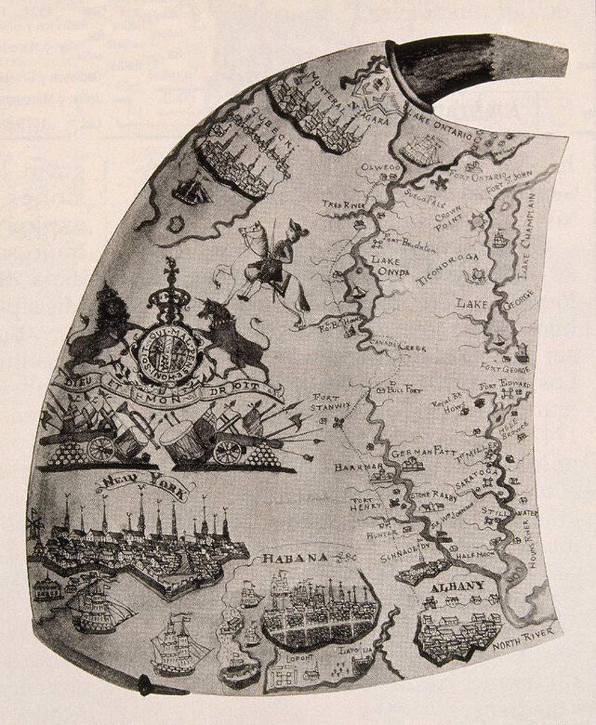 CUERNO PARA POLVORA - SAN LORENZO HUDSON Y MOHAWK VIAS DE COMERCIO - 1755 - PINTADO. : Stock Photo