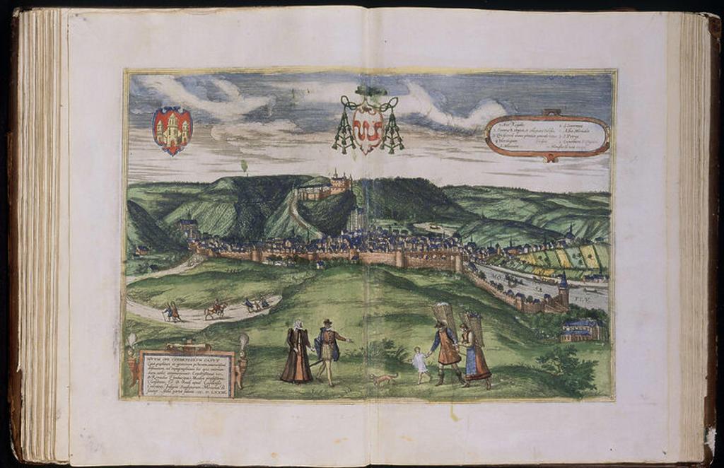 CIVITATES ORBIS TERRARUM - HUY - BELGICA - GRABADO - 1575. Author: BRAUN GEORG 1541-1622 / HOGENBERG FRANS. Location: SERVICIO GEOGRAFICO DEL EJERCITO, MADRID, SPAIN. : Stock Photo