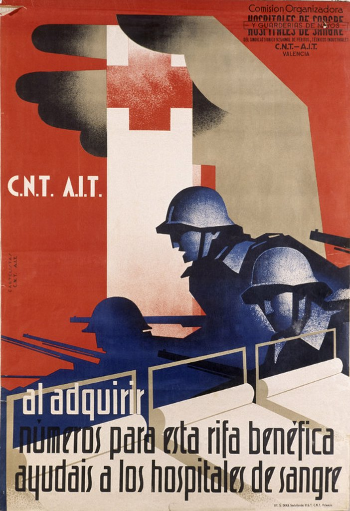 Stock Photo: 4409-17081 Spanish Civil War (1936-1939). Civil War Poster. CNT AIT: Charity Raffle in aid of Field Hospitals. CNT AIT : Rifa benefica commo ayuda a hospital de sangre. Salamanca, National Historical Archives. Location: ARCHIVO HISTORICO NACIONAL, SALAMANCA, SPAIN.