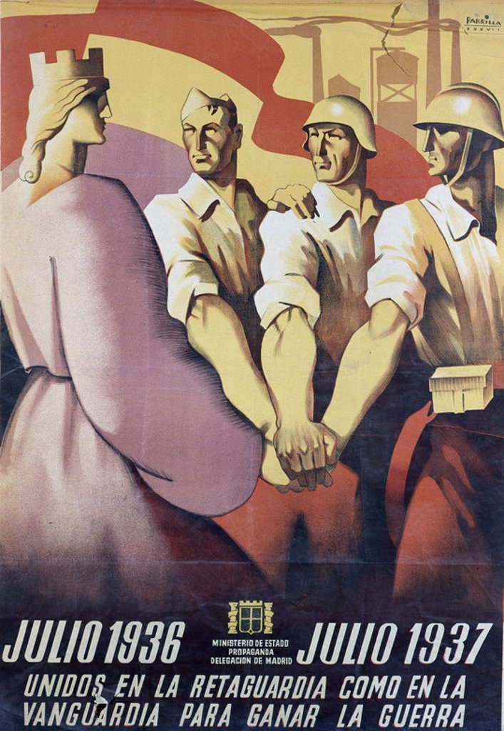 Stock Photo: 4409-17083 Spanish Civil War (1936-1939). Civil War Poster. United to Win the War. Unidos para ganar la guerra. Salamanca, National Historical Archives. Location: ARCHIVO HISTORICO NACIONAL, SALAMANCA, SPAIN.