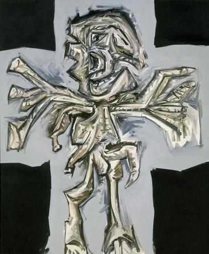 Crucifixion. Madrid, Reina Sofia museum. Author: SAURA, ANTONIO. Location: MUSEO REINA SOFIA-PINTURA, MADRID, SPAIN. : Stock Photo