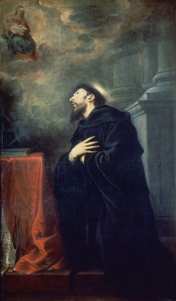 St. Augustine - 1663 - oil on canvas - 208 x 126 cm - Spanish Baroque - NP 2244. Author: CEREZO MATEO. Location: MUSEO DEL PRADO-PINTURA, MADRID, SPAIN. Also known as: VISION DE SAN AGUSTIN. : Stock Photo