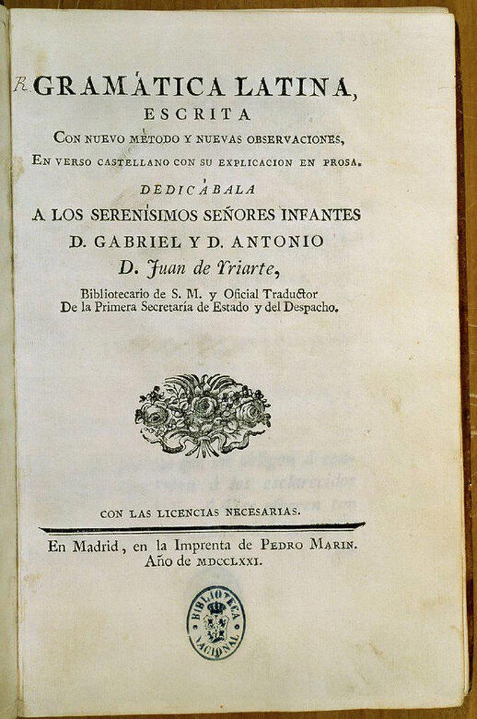 Stock Photo: 4409-17393 PORTADA DE LA GRAMATICA LATINA - MADRID - 1771. Author: IRIARTE JUAN. Location: BIBLIOTECA NACIONAL-COLECCION, MADRID, SPAIN.