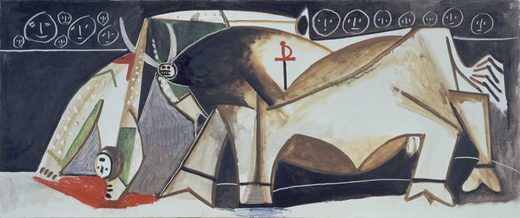 Stock Photo: 4409-17518 A Scene of Tauromachy: The Acrobatic Bullfighter - 1955. Author: PICASSO, PABLO. Also known as: ESCENA TAUROMAQUIA-EL PICADOR VOLTEADO.