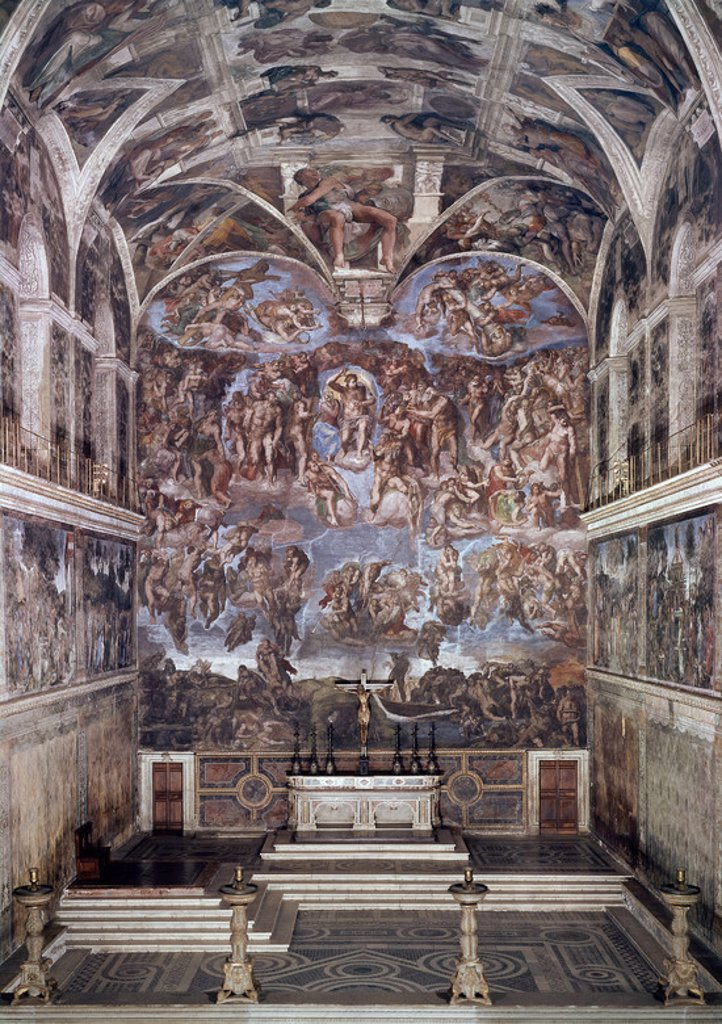 Stock Photo: 4409-17546 EL JUICIO FINAL - 1536-1541 - RENACIMIENTO ITALIANO - ANTES DE LA  RESTAURACION. Author: BUONARROTI, MICHELANGELO. Location: MUSEOS VATICANOS-CAPILLA SIXTINA, VATICANO.