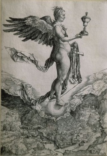 Stock Photo: 4409-17580 NEMESIS (O LA FORTUNA GRANDE) - GRABADO 1502-3. Author: DURER, ALBRECHT. Location: PRIVATE COLLECTION, MADRID, SPAIN.