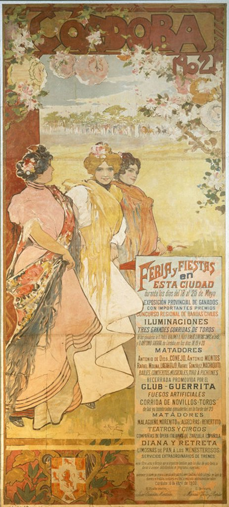 CARTEL DE FERIA DE CORDOBA 1902. Author: ROMERO DE TORRES, JULIO. Location: MUSEO TAURINO, CORDOBA, SPAIN. : Stock Photo