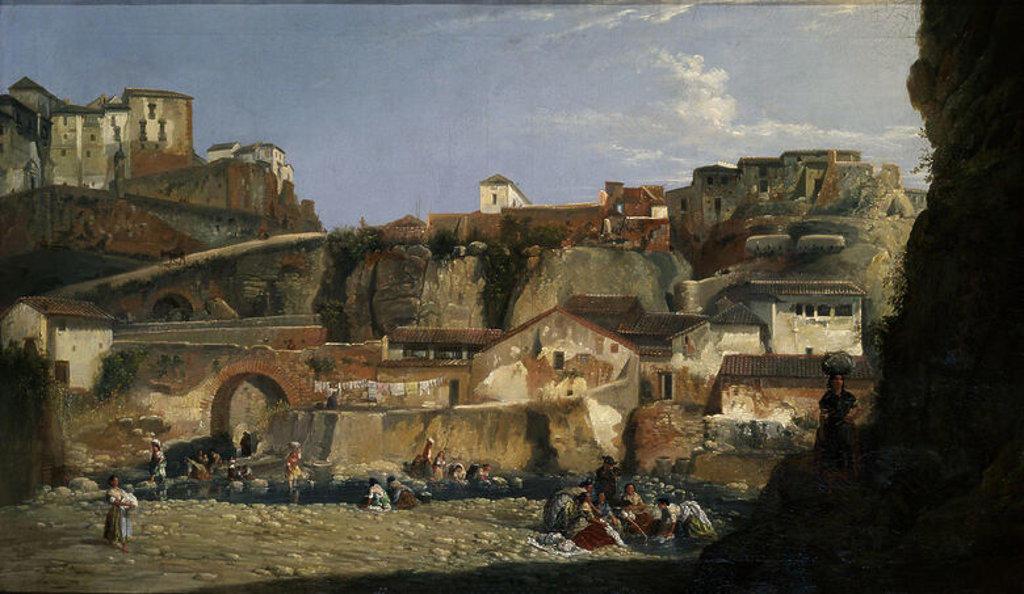 Stock Photo: 4409-17634 LAVANDERAS AL PIE DEL RONDA - SIGLO XIX. Author: BARRON Y CARRILLO MANUEL. Location: MUSEO DE BELLAS ARTES-CONVENTO DE LA MERCED CALZAD, SEVILLE, SPAIN.