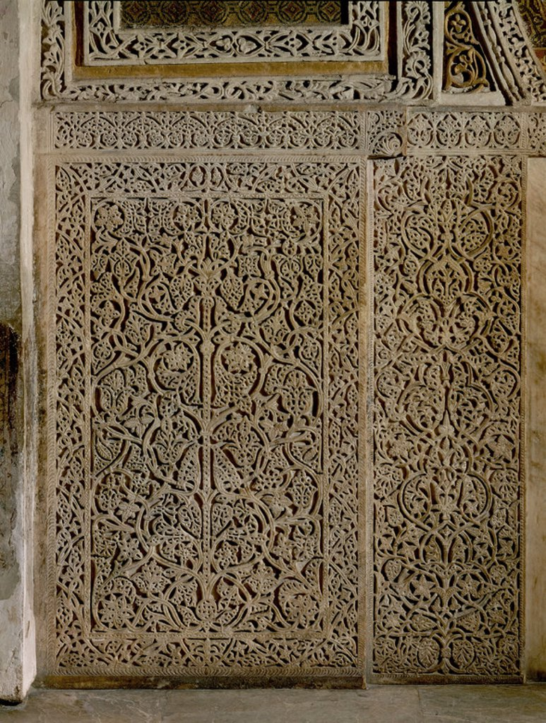 Stock Photo: 4409-17732 TABLERO DE MARMOL DEL FRENTE DEL MIHRAB-DECORACION HISPANOMUSULMANA. Location: MEZQUITA-INTERIOR, CORDOBA, SPAIN.