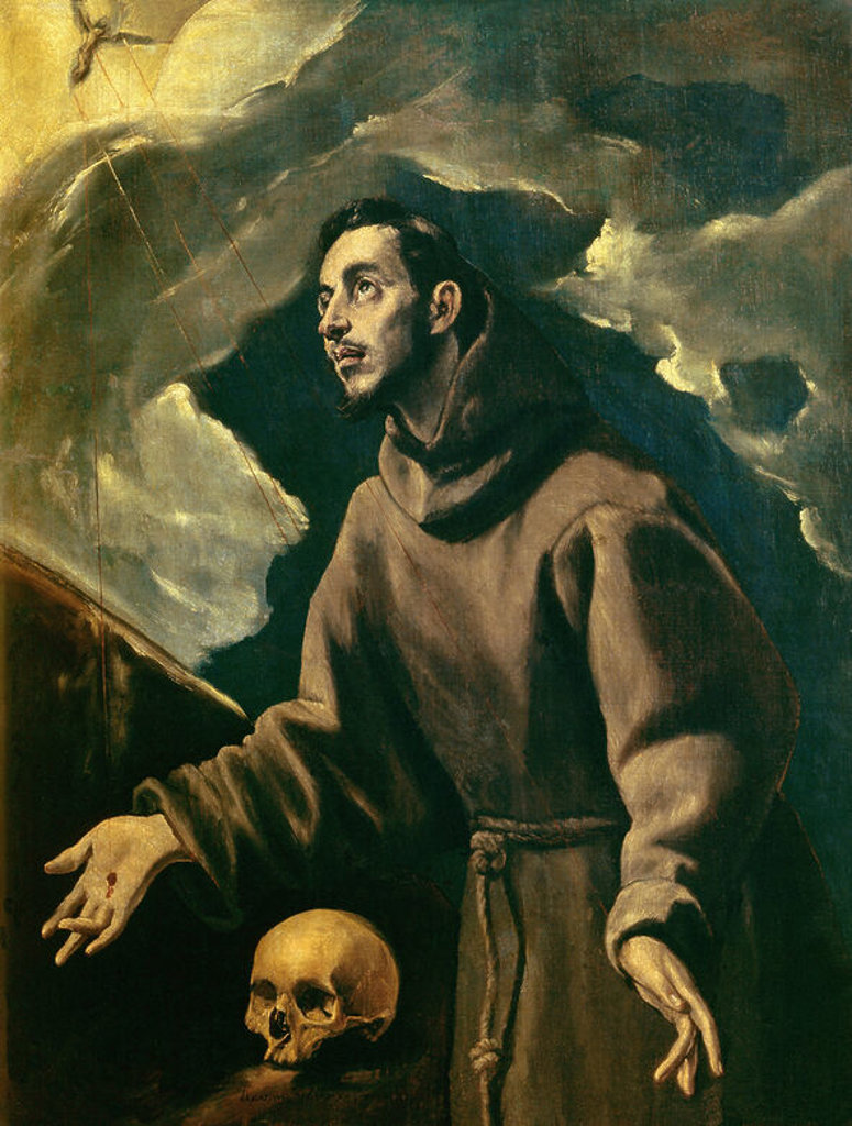 Stock Photo: 4409-17939 St. Francis Receiving the Stigmata - 16th century - oil on canvas. Author: EL GRECO. Location: PRIVATE COLLECTION, MADRID, SPAIN. Also known as: ESTIGMACION DE SAN FRANCISCO; SAN FRANCISCO DE ASIS RECIBIENDO LO ESTIGMAS O ESTIGMATIZACION DE SAN FRANCISCO.