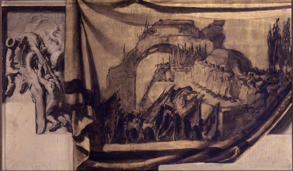 BOCETO- LOS VENCEDORES. LA PAZ MUERTA- PINTADO PARA LA SALA FRANCISCO DE VITORIA DEL PALACIO DE LAS NACIONES DE GINEBRA- 1935-1936 - O/T- 0,59x0,97 m. Author: SERT JOSE MARIA. Location: PRIVATE COLLECTION, MADRID, SPAIN. : Stock Photo