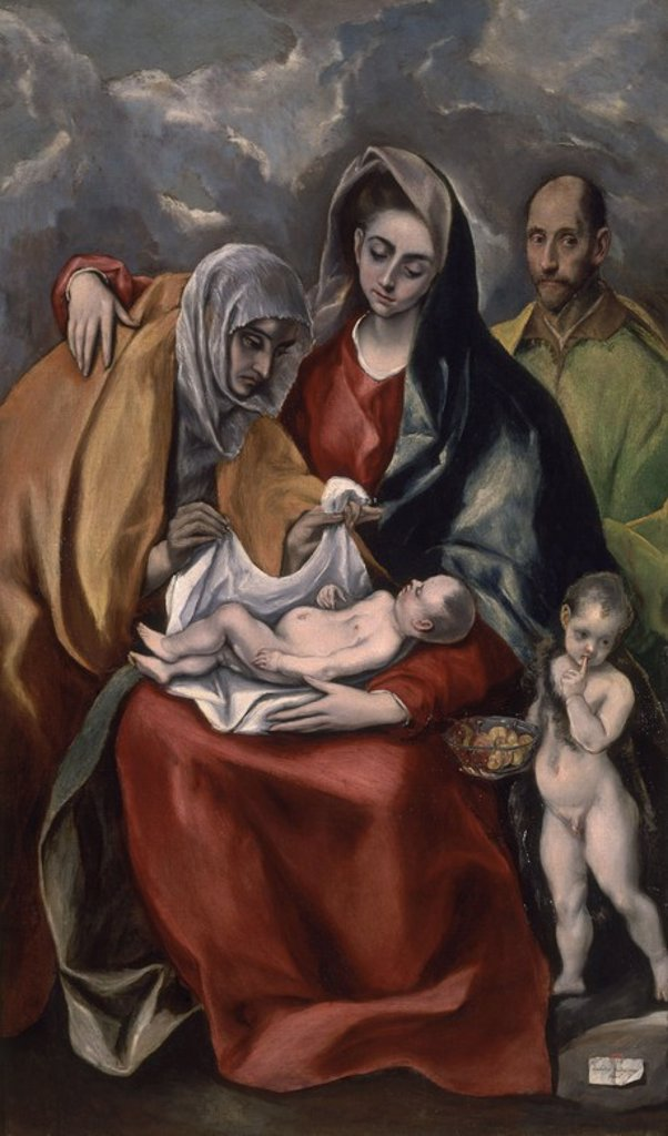 Stock Photo: 4409-18061 The Holy Family with St. Elizabeth - 1585 - 178x105 cm - oil on canvas - Spanish Mannerism. Author: EL GRECO. Location: HOSPITAL DE TAVERA / MUSEO DUQUE DE LERMA, TOLEDO, SPAIN. Also known as: LA SAGRADA FAMILIA CON SANTA ANA; VIRGEN CON EL NIÑO SANTA ANA Y SAN JUAN BAUTISTA.