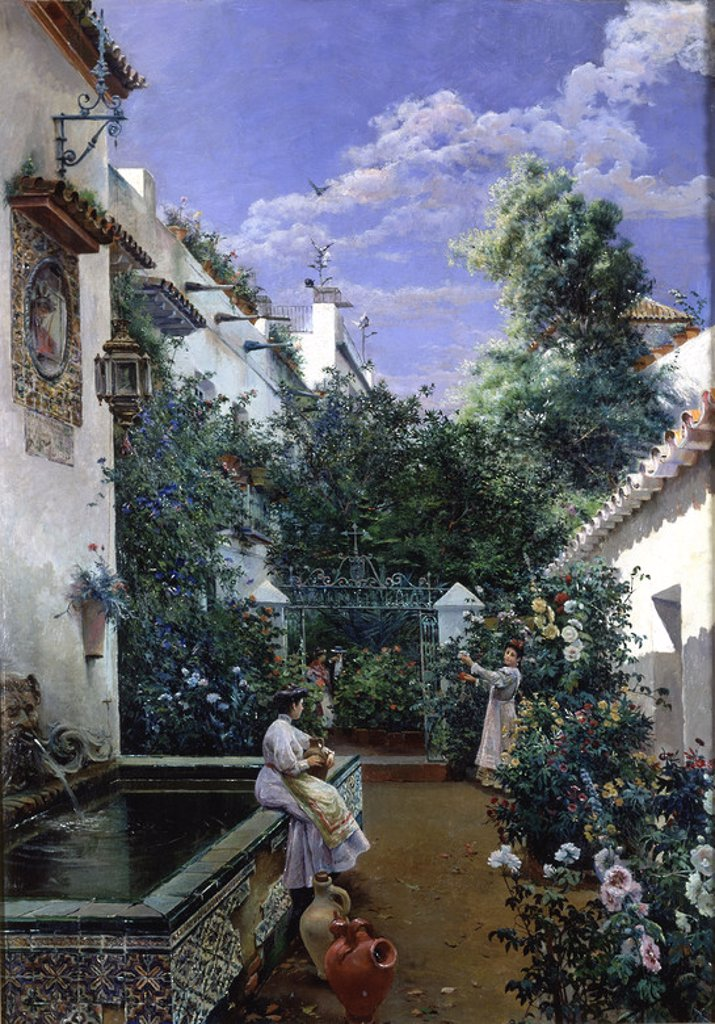 Stock Photo: 4409-18198 PATIO ANDALUZ. Author: GARCIA RODRIGUEZ MANUEL. Location: PRIVATE COLLECTION, MADRID, SPAIN.