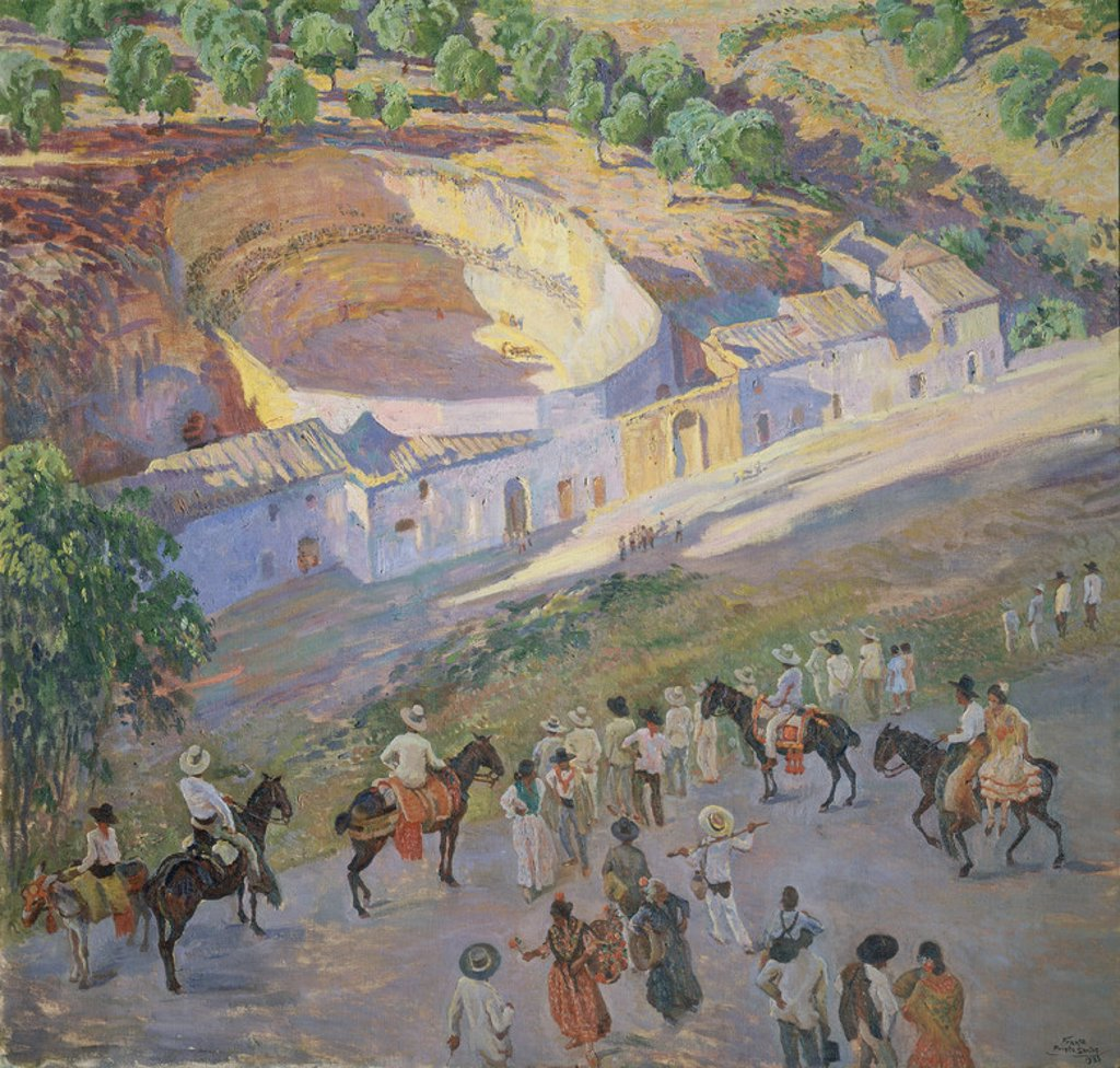 CORRIDA DE TOROS EN ARCOS-1933. Author: PRIETO SANTOS. Location: MUSEO DE CADIZ-BELLAS ARTES, CADIZ, SPAIN. : Stock Photo