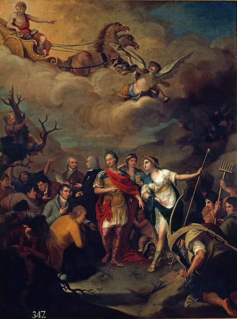 CARLOS III ENTREGANDO LAS TIERRAS A LOS COLONOS DE SIERRA MORENA - SIGLO XVIII. Author: RIVERO JOSE ALONSO. Location: ACADEMIA DE SAN FERNANDO-PINTURA, MADRID, SPAIN. : Stock Photo