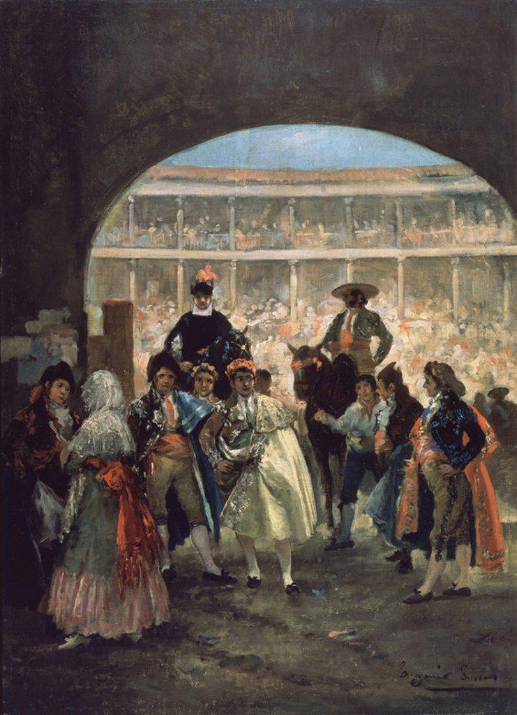 Stock Photo: 4409-18723 SALIDA DE TOREROS - EL PASEILLO - OLEO/LIENZO - 72x52 cm-  SIGLO XIX- ROMANTICISMO ESPAÑOL. Author: LUCAS VELAZQUEZ, EUGENIO. Location: MUSÉE DES BEAUX-ARTS, MALAGA, SPAIN.