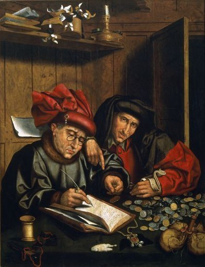 Stock Photo: 4409-18971 The misers - 15th century - oil on panel - 124x96 cm. Author: MASSYS, QUENTIN. Location: MUSÉE DES BEAUX-ARTS, BILBAO, BISCAY, SPAIN. Also known as: LOS CAMBISTAS.