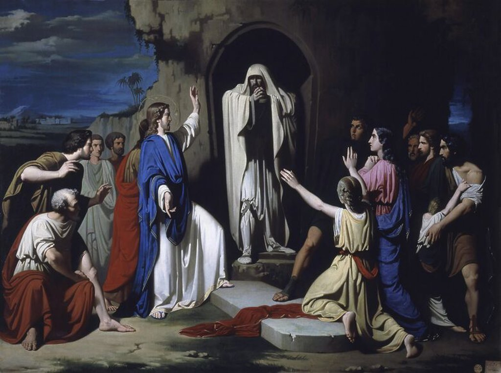 Stock Photo: 4409-19149 The Resurrection of Lazarus - 19th century. Author: CASADO DEL ALISAL, JOSE. Location: ACADEMIA DE SAN FERNANDO-PINTURA, MADRID, SPAIN. Also known as: LA RESURRECION DE LAZARO.