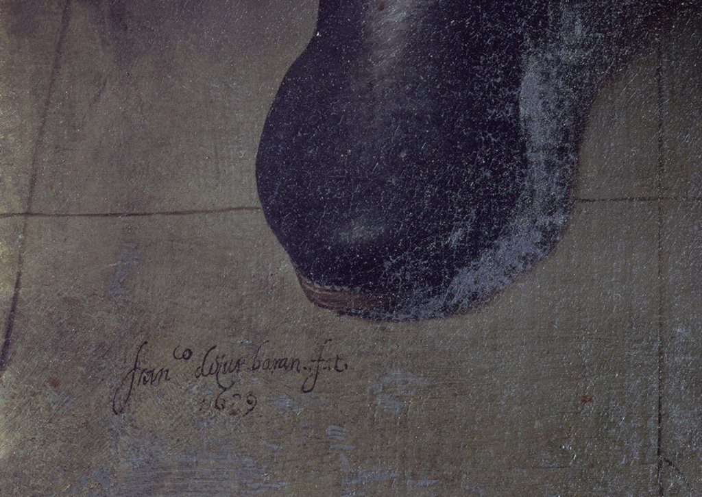 Stock Photo: 4409-19310 Spanish school. Brother Fernando y Añez is Rejecting the Toledan Mitre (detail of the signature). Sacristia - Fray Fernand y Añez rechaza la mitra toledana. Guadalupe monastery. Province of Caceres, Spain. Author: ZURBARAN, FRANCISCO DE. Location: MONASTERIO-PINTURA, GUADALUPE, CACERES, SPAIN.