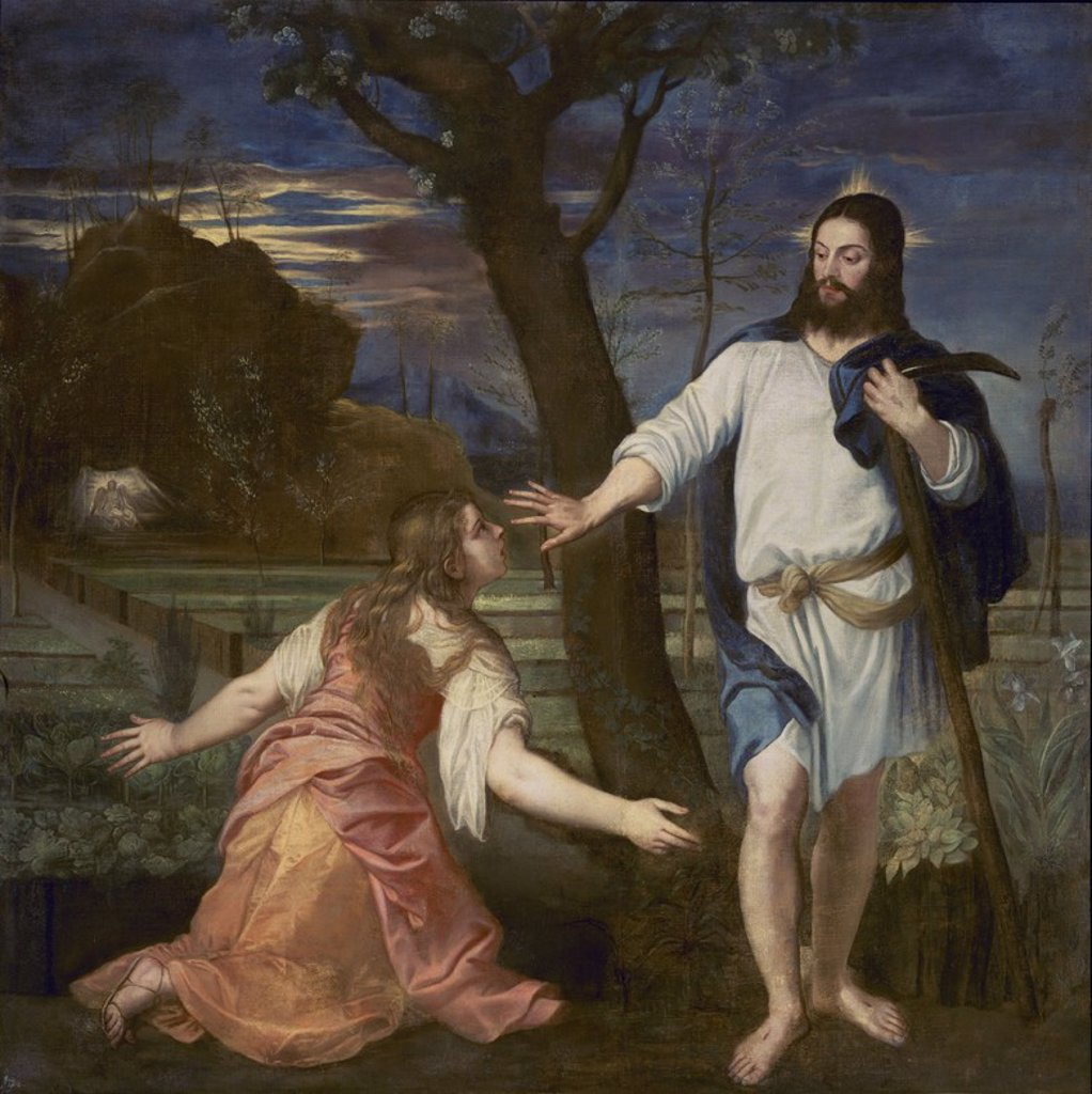 NOLI ME TANGERE - 1574 - 231X224 CM - RENACIMIENTO ESPAÑOL. Author: SANCHEZ COELLO, ALONSO. Location: MONASTERIO-PINTURA, SAN LORENZO DEL ESCORIAL, MADRID, SPAIN. : Stock Photo