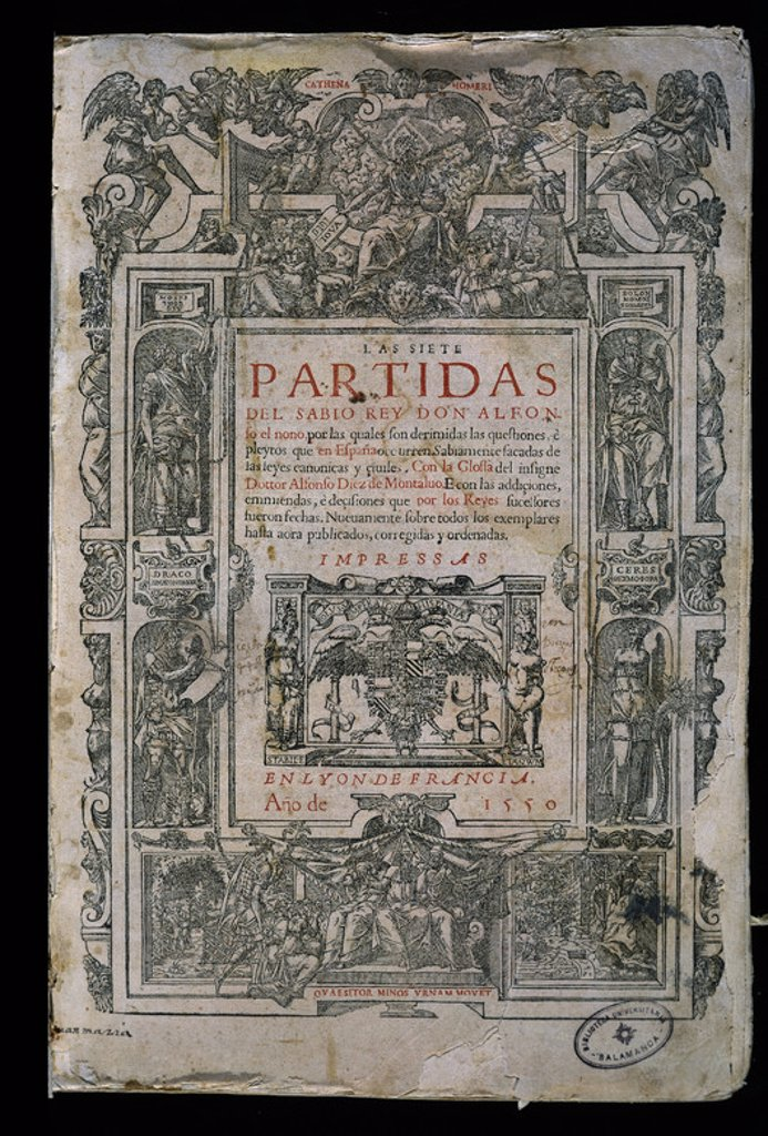Stock Photo: 4409-19467 LAS SIETE PARTIDAS-IMPRESAS EN LYON EN 1550-PORTADA. Author: ALFONSO X OF CASTILE, THE WISE. Location: UNIVERSIDAD BIBLIOTECA, SALAMANCA, SPAIN.