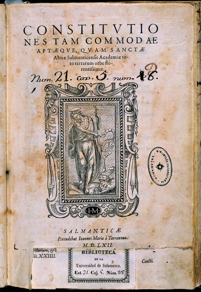 Stock Photo: 4409-19470 CONSTITUCIONES DE LA UNIVERSIDAD DE SALAMANCA-PORTADA 1557. Location: UNIVERSIDAD BIBLIOTECA, SALAMANCA, SPAIN.